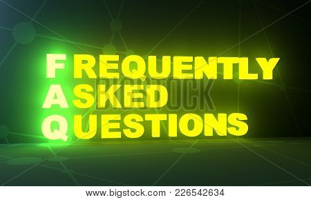 Faq - Frequently Asked Questions Neon Shine Text. 3d Rendering