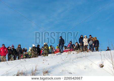 Spectators At The Festival Winter Fun In Uglich, 10.02.2018 In Uglich, Yaroslavl Region, Russia.