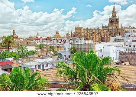 View From Tower Of Gold  On  Roman Catholic Cathedral In Seville