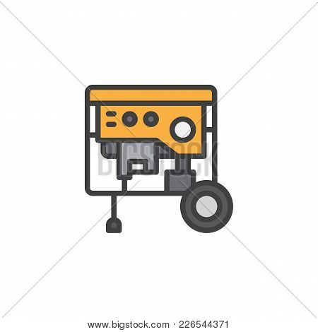 Portable Power Generator Filled Outline Icon, Line Vector Sign, Linear Colorful Pictogram Isolated O