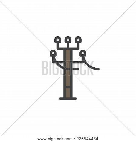 Tower Electricity Supply Filled Outline Icon, Line Vector Sign, Linear Colorful Pictogram Isolated O