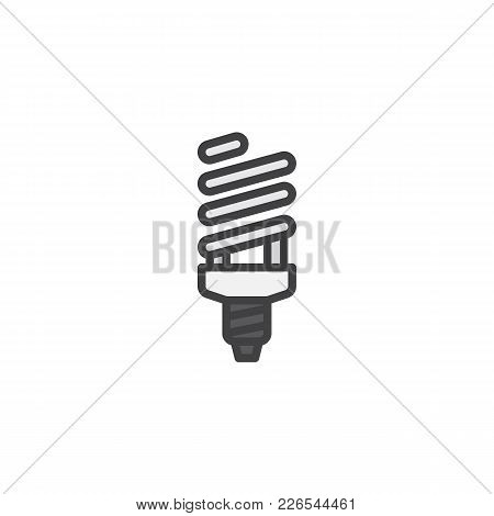 Fluorescent Lamp Filled Outline Icon, Line Vector Sign, Linear Colorful Pictogram Isolated On White.