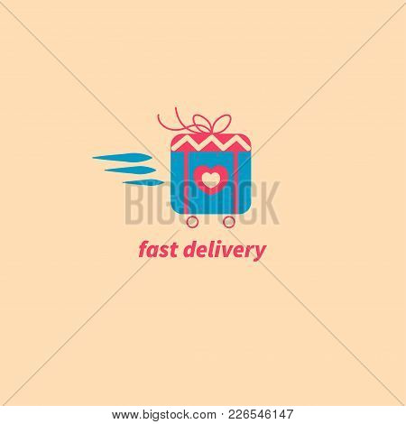 Icon Fast Delivery. Valentines Day Gift On Wheels, Logo Birthday Package, Online Order. Vector Illus