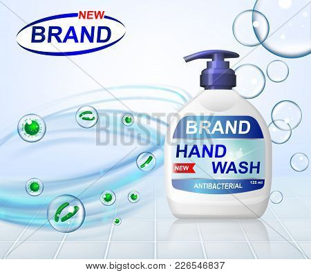 Antibacterial Hand Gel Wash Ads, Dispenser Bottle With Transparent Bubbles Isolated On Background. 3