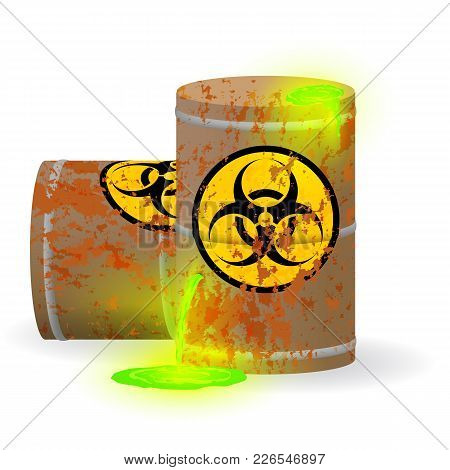 Vector Illustration. Chemical Biological Waste In A Rusty Barrel. Toxic Green Fluorescent Liquid In