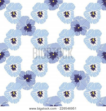 Seamless Pattern With Pansies Flower On White Background. Vector Set Of Blooming Floral For Wedding