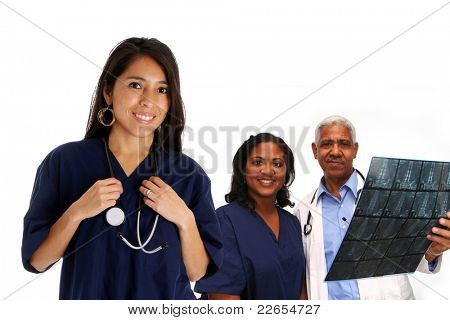 Minority doctor set on white background
