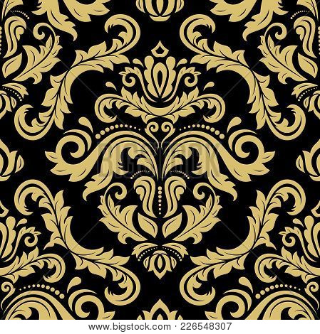 Classic Seamless Black And Golden Pattern. Traditional Orient Ornament. Classic Vintage Background