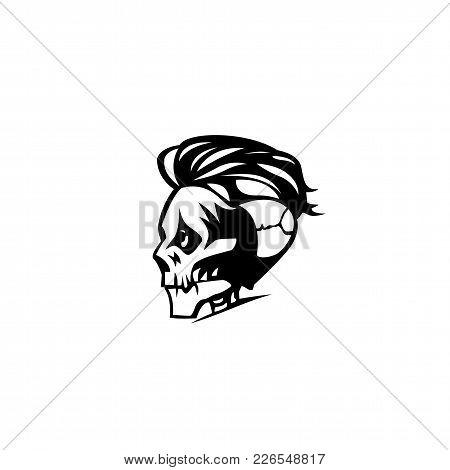 The Man Skull With Hair On White Background Vector Illustration Design.