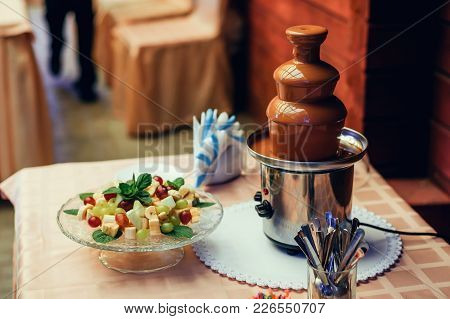 Chocolate Fountain For Fruit Fondue For Sweet Delicious Dessert