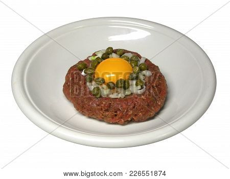 Delicious Steak Tartare Isolated On White Background