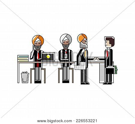 Business Meeting And Contract Conclusion Indian Businessmen In Conference Room. Corporate Business P