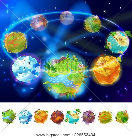 Cartoon Earth Planets Collection With Animals And Different Nature Landscapes On Blue Light Glowing