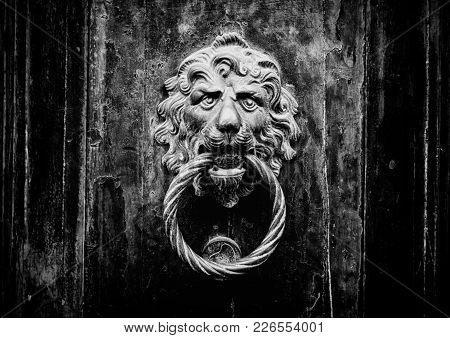 Close-up Of An Antique Metal Doorknob With A Lion Face On A Wooden Door - Concept For Antique, Gothi