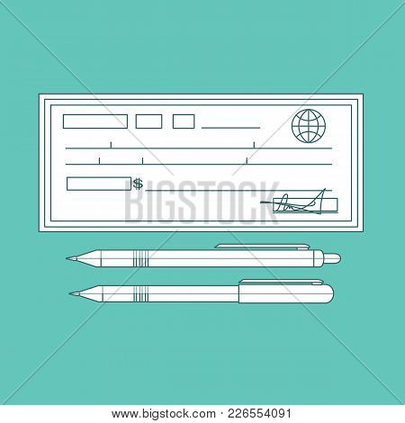 Cheque Icon In Flat Style. Contour Cheque Book On Colored Background. Bank Check With Pen. Concept I