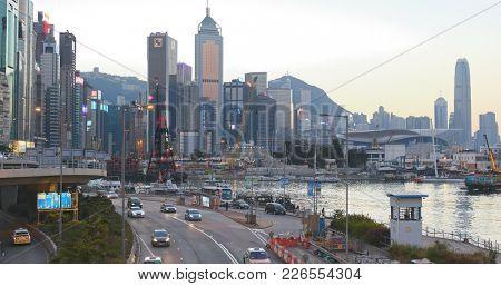 Causeway Bay, Hong Kong 14 January 2018:- Causeway Bay in Hong Kong at sunset