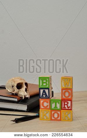Back To Work Spelled In Colorful Blocks A Fountain Pen And A Monkey Skull