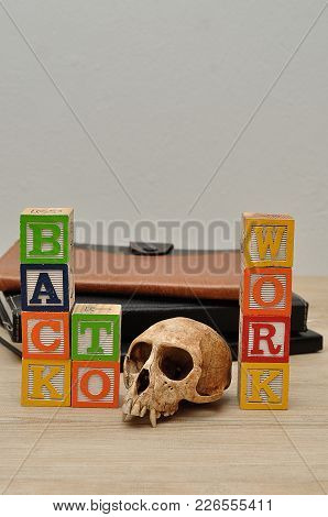 Back To Work Spelled In Colorful Blocks A Monkey Skull