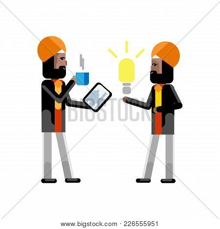 Indian Businessman In Turbine Holding Idea Light Bulb And Investor With Tablet Pc And Coffee Cup In