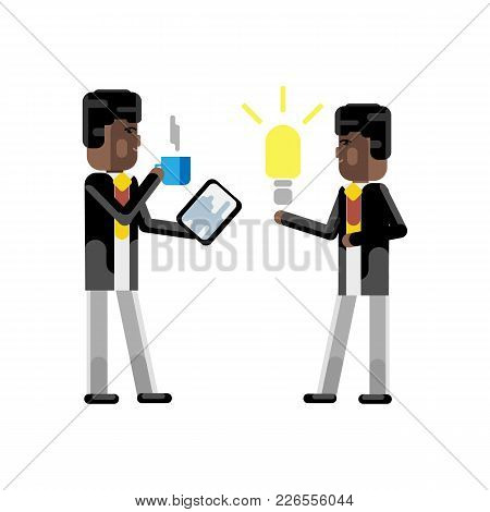 African Businessman Holding Idea Light Bulb And Investor With Tablet Pc And Coffee Cup In Hands Isol