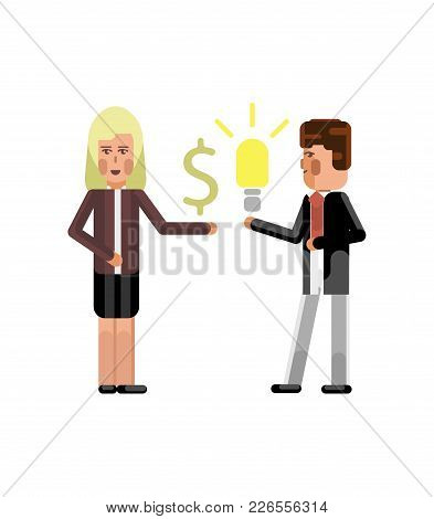 Businessman Holding Idea Light Bulb And Blonde Businesswoman With Dollar Sign In Hand Isolated Vecto