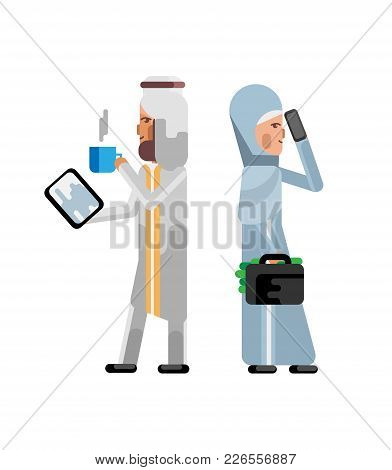 Arabic Businessman With Tablet Computer And Businesswoman With Money Suitcase. Corporate Business Pe