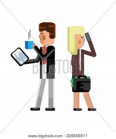 European Businessman With Tablet Computer And Blonde Businesswoman With Money Suitcase. Corporate Bu