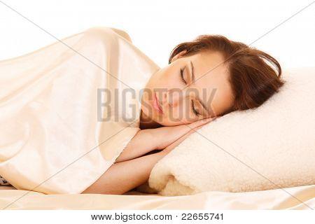 The attractive sleeping redhead women