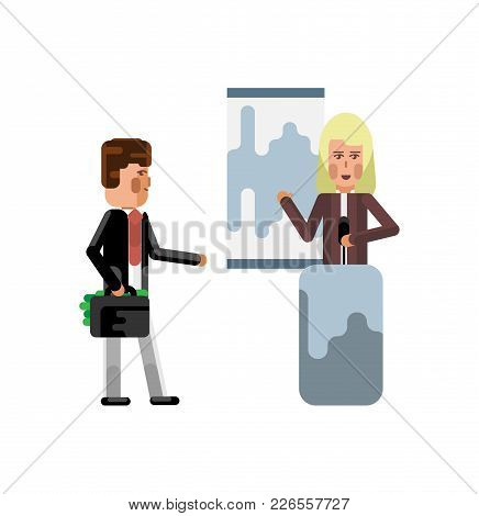 Blonde Woman On Tribune Doing Business Presentation And Investor Holding Money Suitcase Isolated Vec