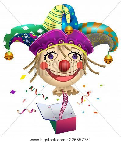 Funny Clown Buffoon Head To Jump Out Of Box. Fools Day Symbol. Isolated On White Fun Vector Cartoon