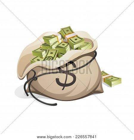 Bag Of Money. Packing In Bundles Of Bank Notes. Isolated On White Background.