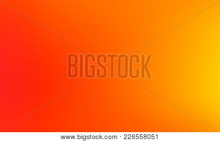 Abstract Blurred Orange Gradient Background. Colorful Smooth Banner Template. Mesh Backdrop With Bri