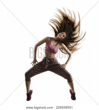 Fitness Woman Sport Dance, Girl With Flying Hair Dancing Breakdance, Freestyle Dancer Isolated On Wh