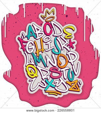 Colorful Handwritten Graffiti Font Alphabet. Artistic Hip Hop Typography Collection. Custom Vector C
