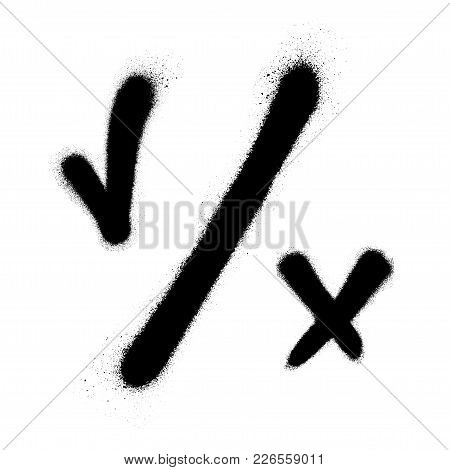 Tick And Cross. Test. Choice. Approved Tick And Rejected Cross. Voting Button. Black Check Marks. Gr