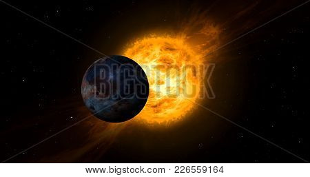 Solar Storm And Eclipse In Space. Concept Of Sun With Energy Clouds And Planet Transit.