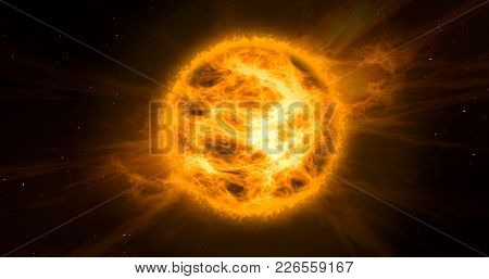 Solar Storm In Space. Concept Of Hot Orange And Yellow Sun With Energy Clouds With Stars In Backgrou