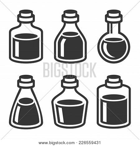 Small Medical Or Parfume Jar And Bottles Icons Set. Vector Illustration