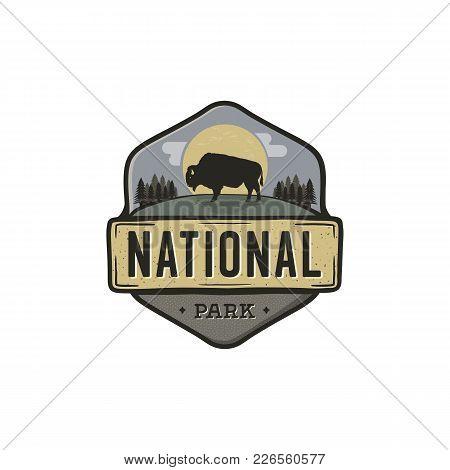 National Park Vintage Badge. Mountain Explorer Label. Outdoor Adventure Logo Design With Bison. Trav