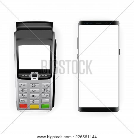 Payment Terminal Mockup And Modern Frameless Smartphone Mockup With Blank Screen. Concept To Showcas