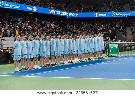 Cluj Napoca, Romania - February 10, 2018: The Ball Boys And Girls Entering The Court During The Open