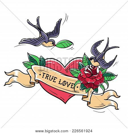 Tattoo Swallows Fly Over Red Heart And Rose. True Love Concept. Symbol Of Mutual Love, Happiness, Ho