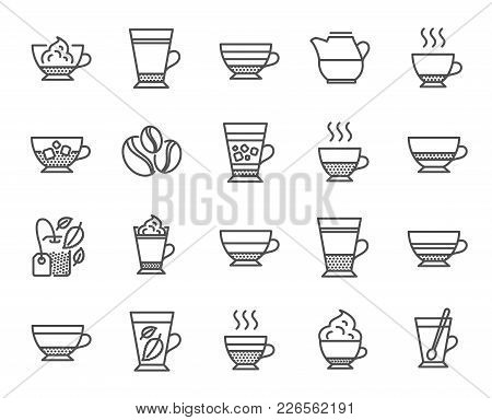Coffee Types And Tea Icons. Set Of Latte, Frappe And Cappuccino Signs. Espresso, Doppio And Cafe Cre