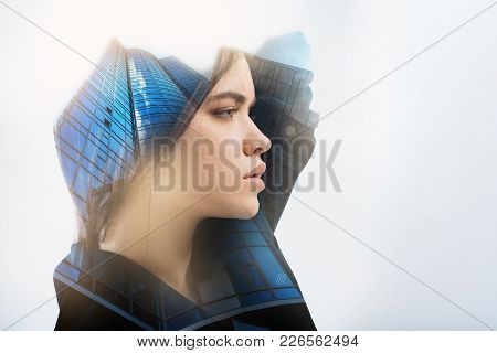 Laconic Portrait. Beautiful Calm Young Person Feeling Good While Standing Alone And Looking Into The