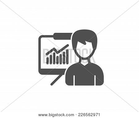 Presentation Simple Icon. Education Board Sign. Lecture With Charts Symbol. Quality Design Elements.