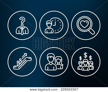 Set Of Working Hours, Search Love And Hiring Employees Icons. Escalator, Couple And Salary Employees