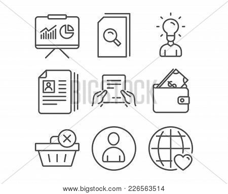 Set Of Delete Purchase, Wallet And Search Files Icons. Cv Documents, Receive File And Education Sign