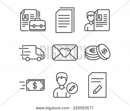 Set Of Copy Files, Vacancy And Edit Person Icons. Truck Delivery, Money Transfer And Job Interview S