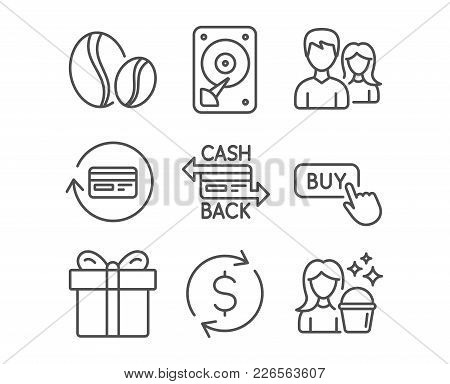 Set Of Cashback Card, Hdd And Teamwork Icons. Coffee Beans, Buy Button And Gift Box Signs. Refund Co