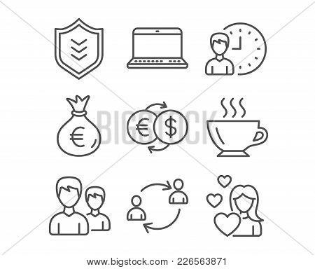 Set Of Money Exchange, Working Hours And Notebook Icons. User Communication, Couple And Shield Signs